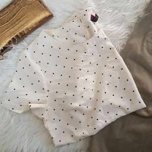 Polka dot blouse cream black top